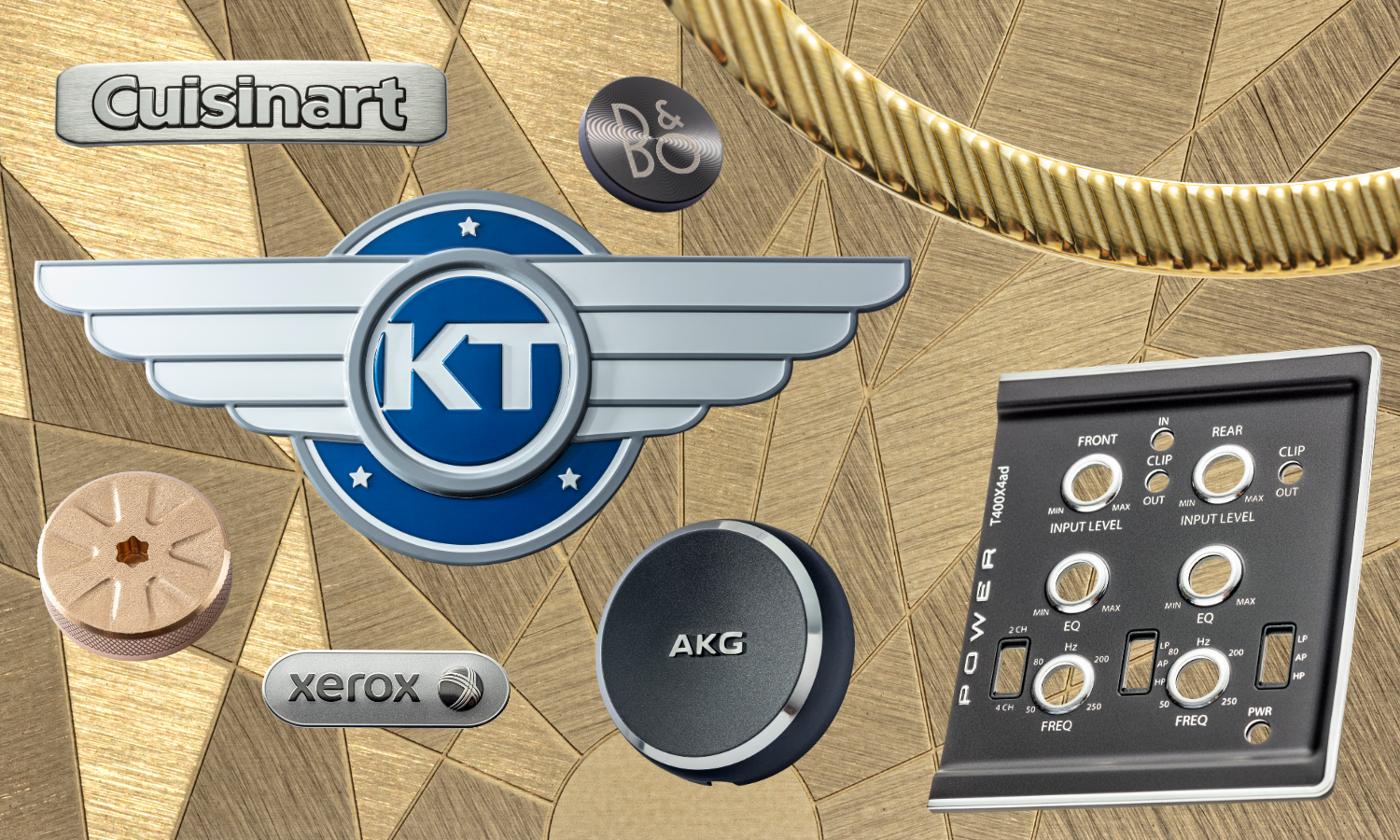collage of branded name plates; cuisinart rectangle badge, oval shaped xerox badge, circle shaped AKG headphone cap, radial spin cut B&O circle badge, selective brushed gold colored background.