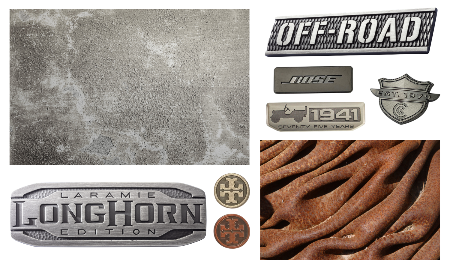 Copper and brass circular logos; antique pewter name plates (Longhorn, Jeep, Bose, Cleveland Golf, Off-Road)