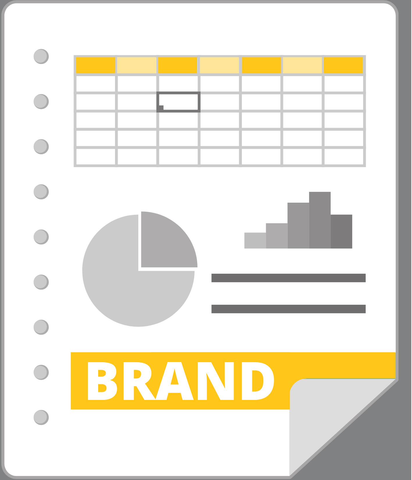 infographic showing grayscale spreadsheet gridlines, grayscale bar chart, grayscale pie chart, and yellow BRAND letters