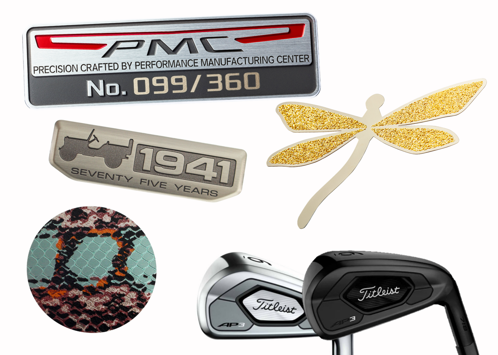 Collage of name plates featuring Jeep 75th anniversary, Titleist golf clubs, glitter dragonfly, colorful PopSocket, and serialized automotive badge.