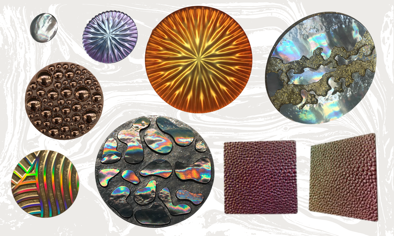 circular parts - water droplets, mother of pearl finishes, sunburst designs, holographic prisms