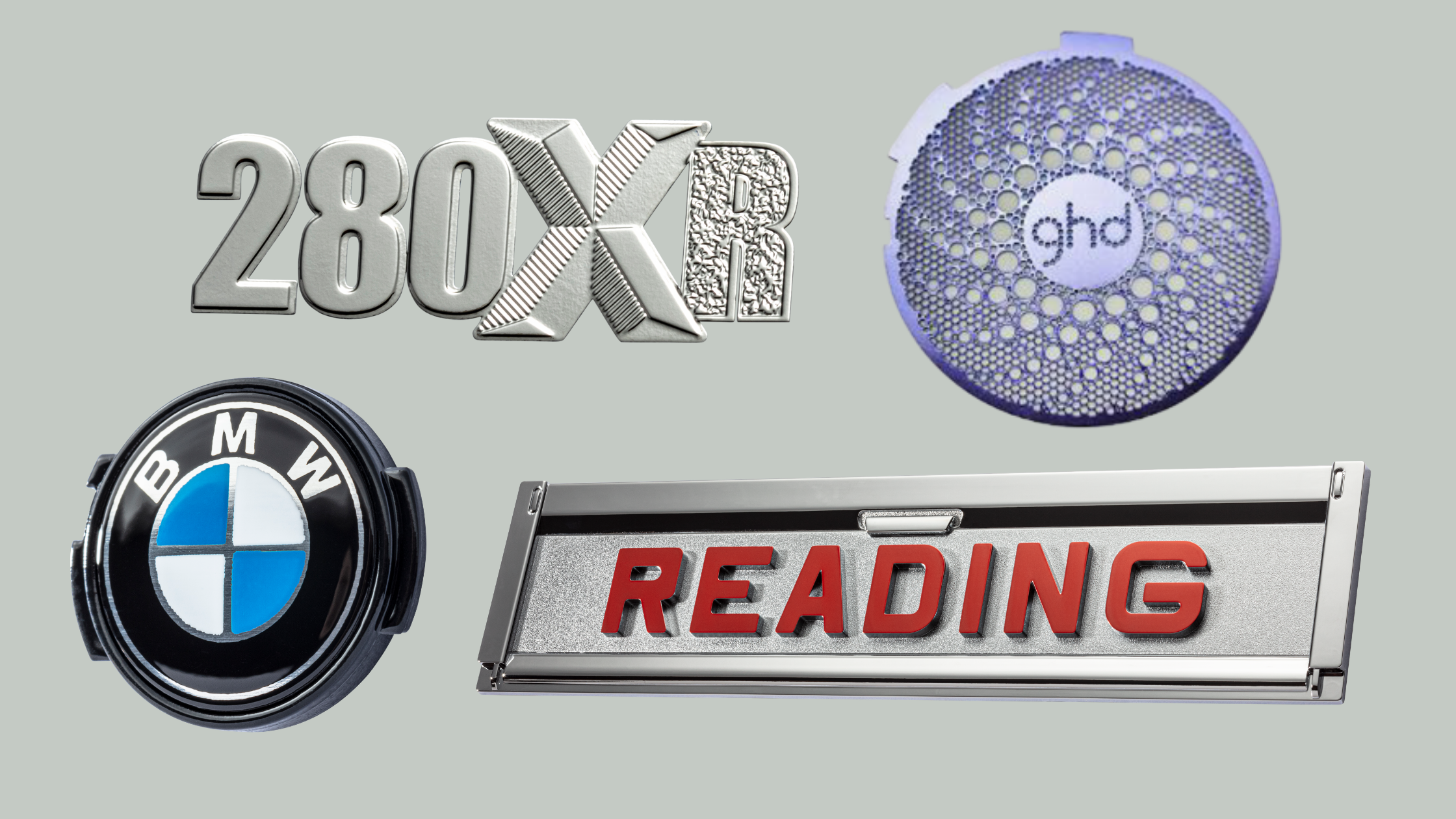 280XR thin chrome textured metal letters, purple etched circular nameplate with thru holes and ghd text, BMW logo circular button, rectangular chrome name plate with reading text in red font