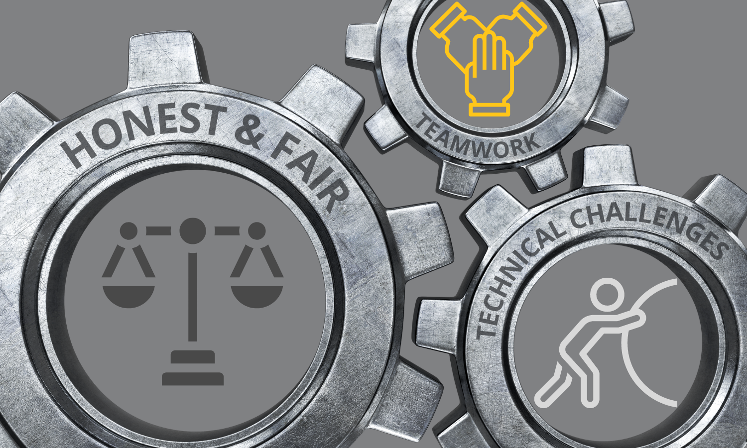 3 different sized brushed chrome gears interlocked; 1 gear labeled honest & fair with a balanced scale in the center; 1 gear labeled teamwork with 3 hands joined together in the center; 1 gear labeled technical challenges with a stick figure pushing a large stone