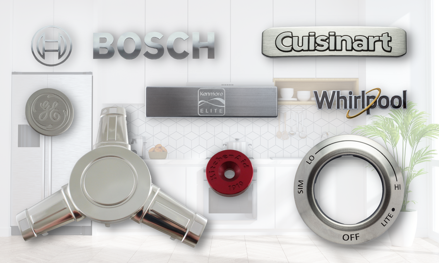 collage of parts used to brand appliance. chrome BOSCH letters, embossed Cuisinart rectangle badge with black edging on letters, black, silver, and gold Whirlpool logo, silver rectangle handle, yellow chrome formed triangular shaped piece, dark red circular KitchenAid cap, knob collar with printed indicators