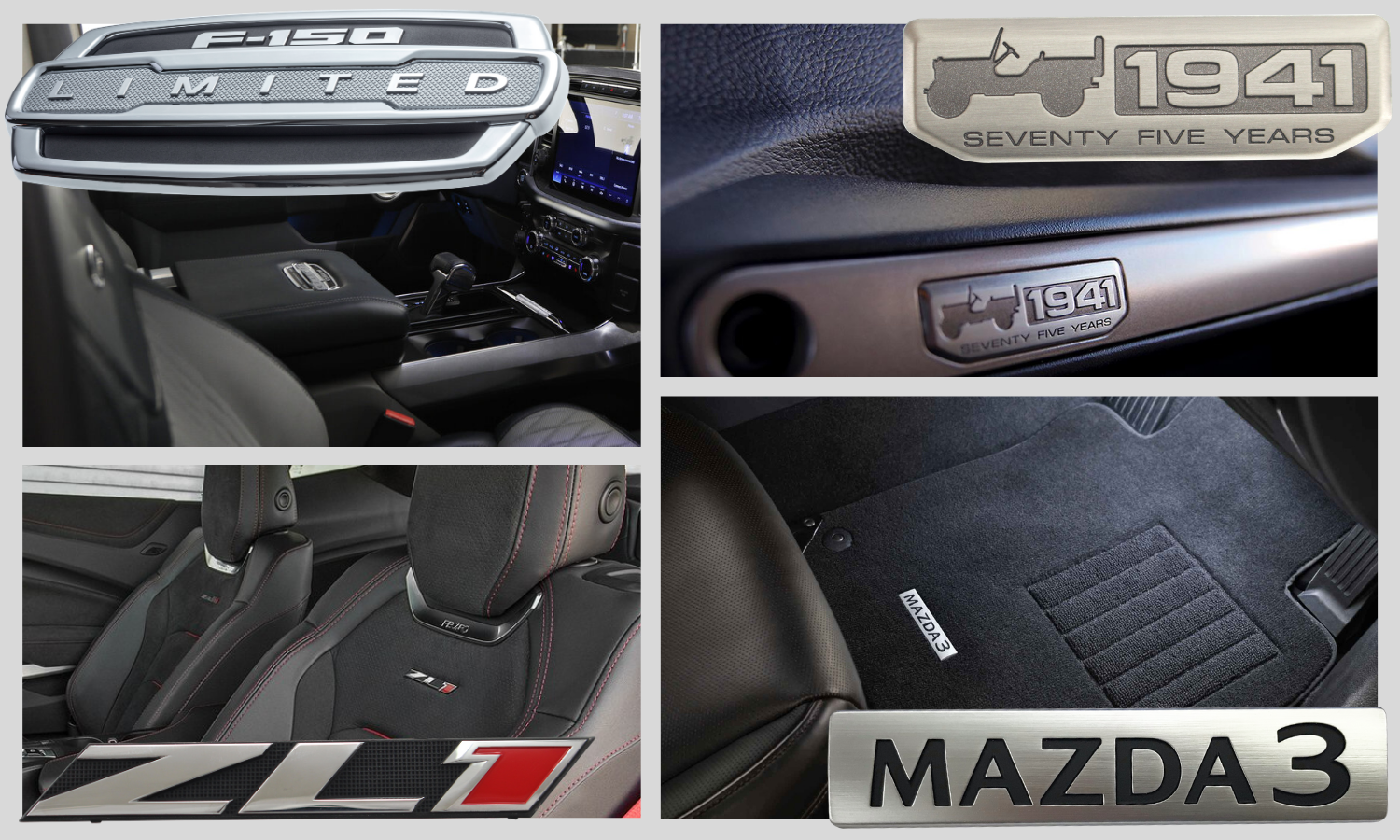 picture split into quadrants. upper left quadrant has Ford F150 chrome and black badge used on the armrest console. Bottom left quadrant has Chevy ZL1 black, chrome, and red model trim name plate shown on a seatback. Upper right quadrant has an antiqued pewter Jeep 1941 instrument panel badge shown on the glove box. bottom right quadrant has a brushed chrome and black Mazda metal name plate shown on the floor mat area.