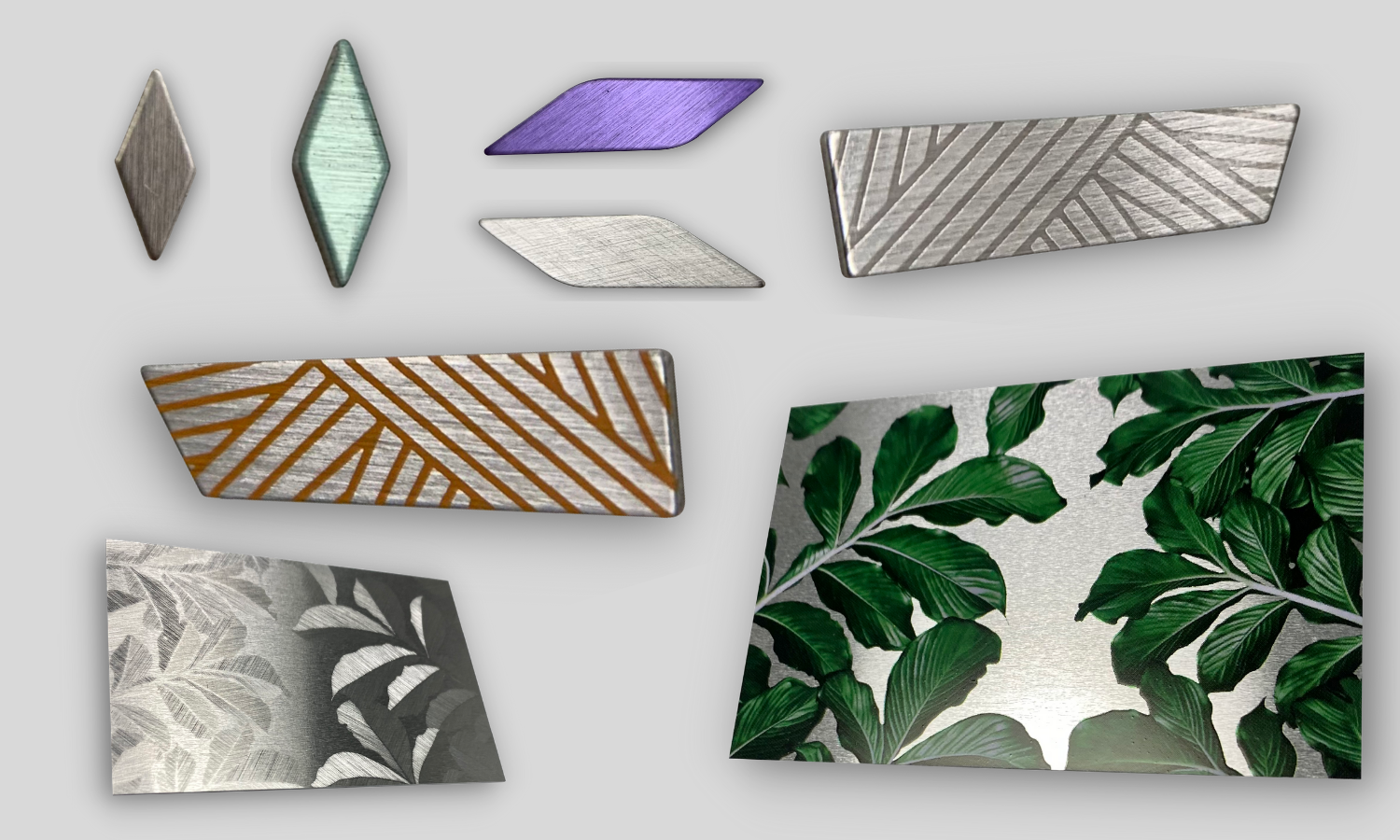 Collage of decorative trim pieces made from recycled aluminum. Rectangle leaf pattern with shades of green. diamond shaped green, purple, and rose gold; selectively brushed aluminum with 2 colors.
