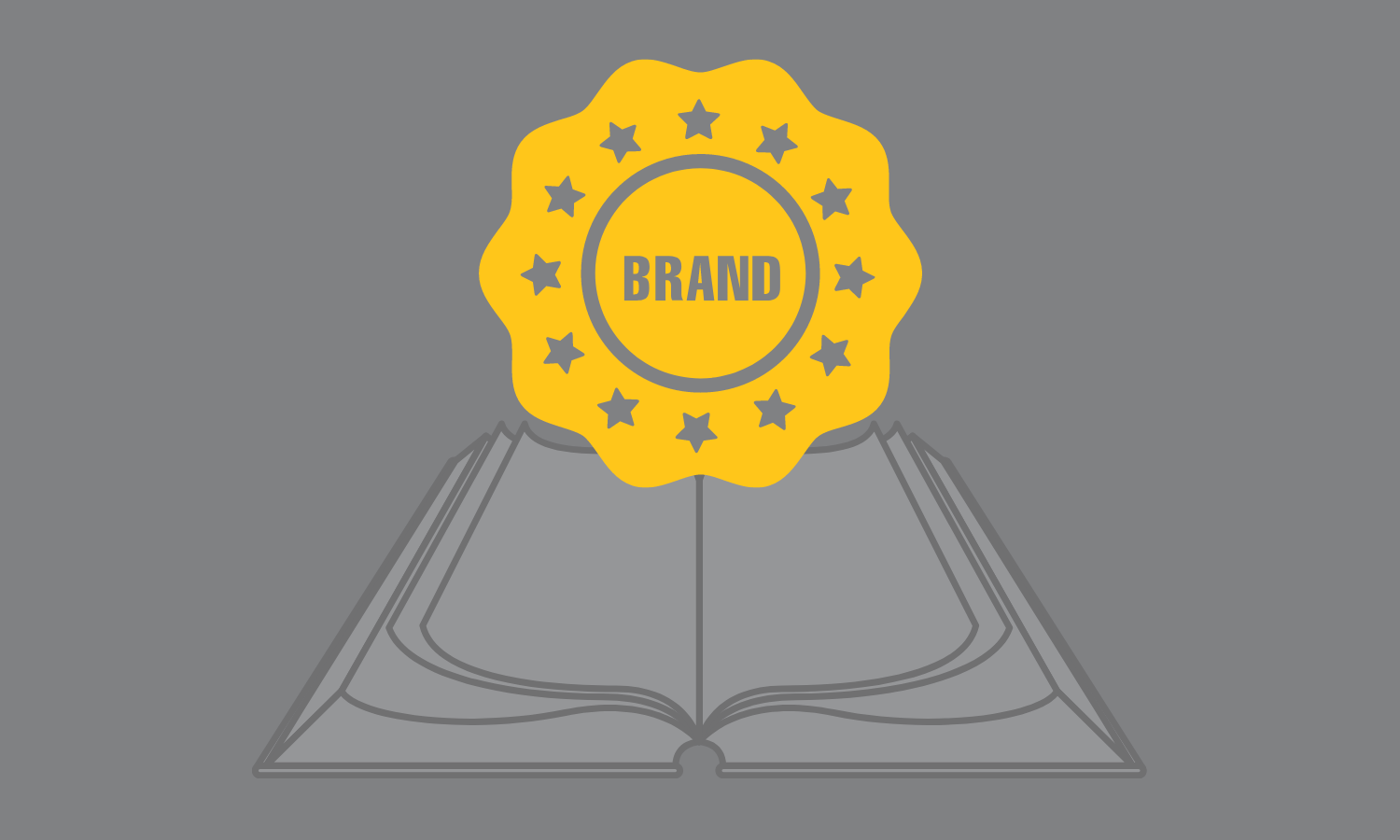 open book with the word brand coming off the page. brand is surrounded by stars.