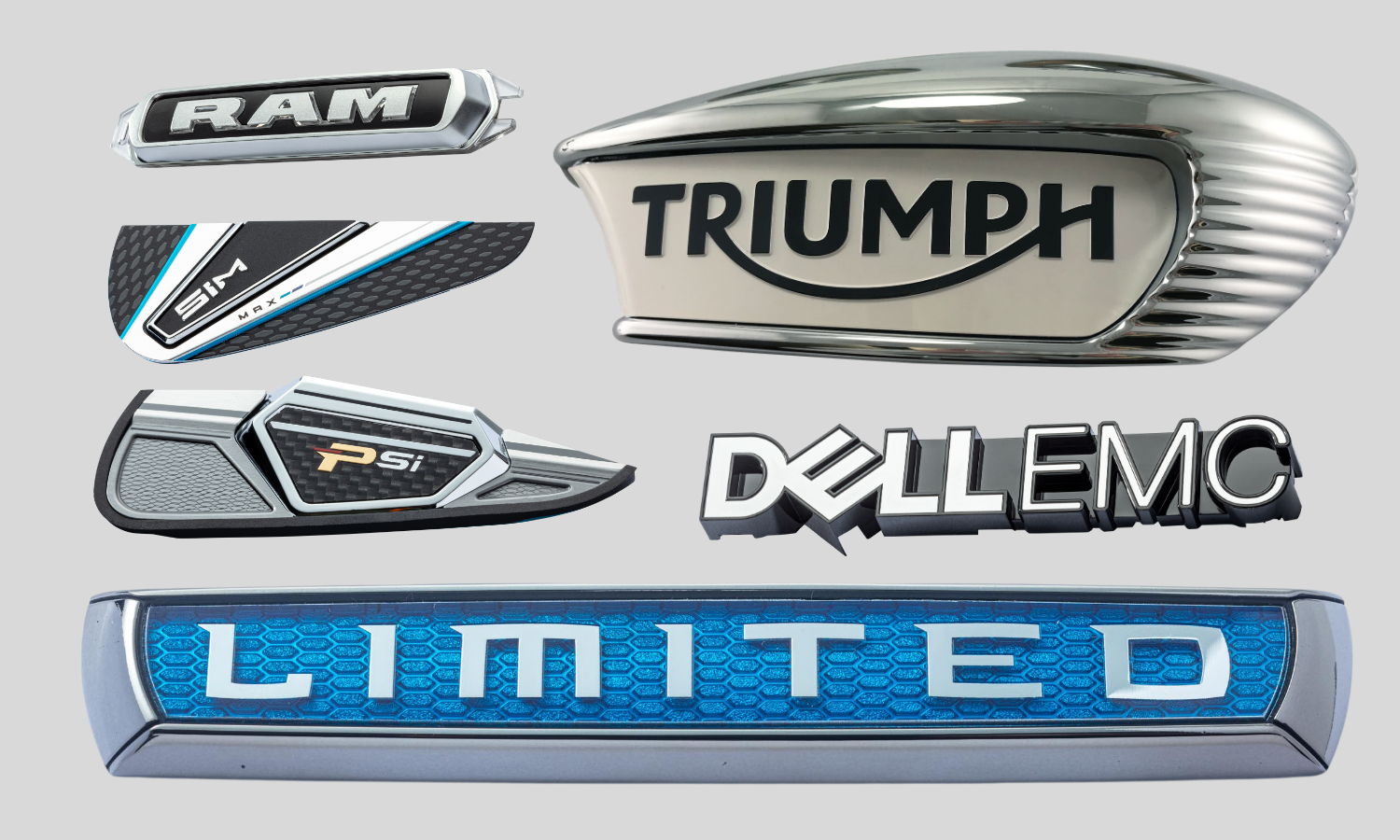 RAM truck name plate, golf iron cavity badges, triumph motorcycle tank badge with white background, black letters, and chrome zinc bezel, DELLEMC black name plate with satin chrome letters, rectangular name plate with chrome text that says LIMITED on top of a transparent blue background