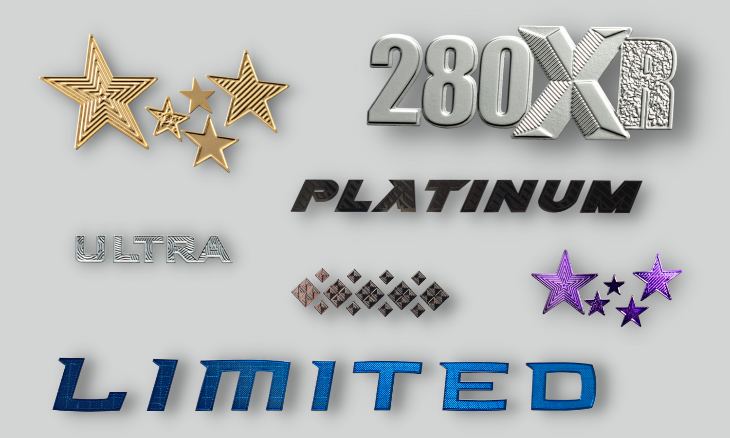 gold lined stars, chrome 280XR with polished and diamond milled letters, black platinum text, chrome ultra text with swirled design inside letters, purple stars, blue limited text with diamond milled letters