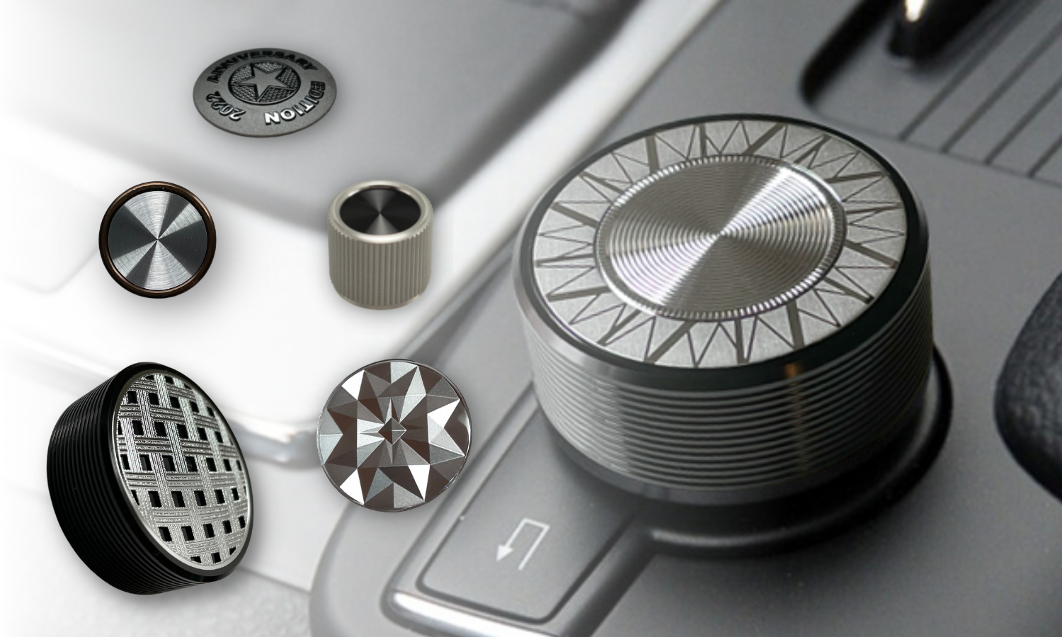 collage of audio knobs/dials with knurled textures, radial spins, starburst patterns, and other textures on the top surface