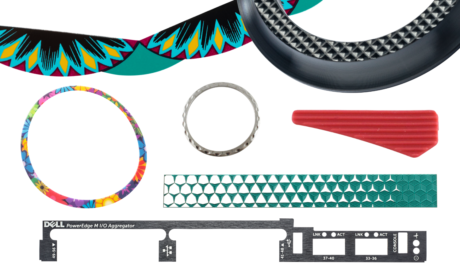 collage of parts - chrome circular ring, green triangle geometric pattern, floral circular ring, red rubber triangle, black knurled knob collar