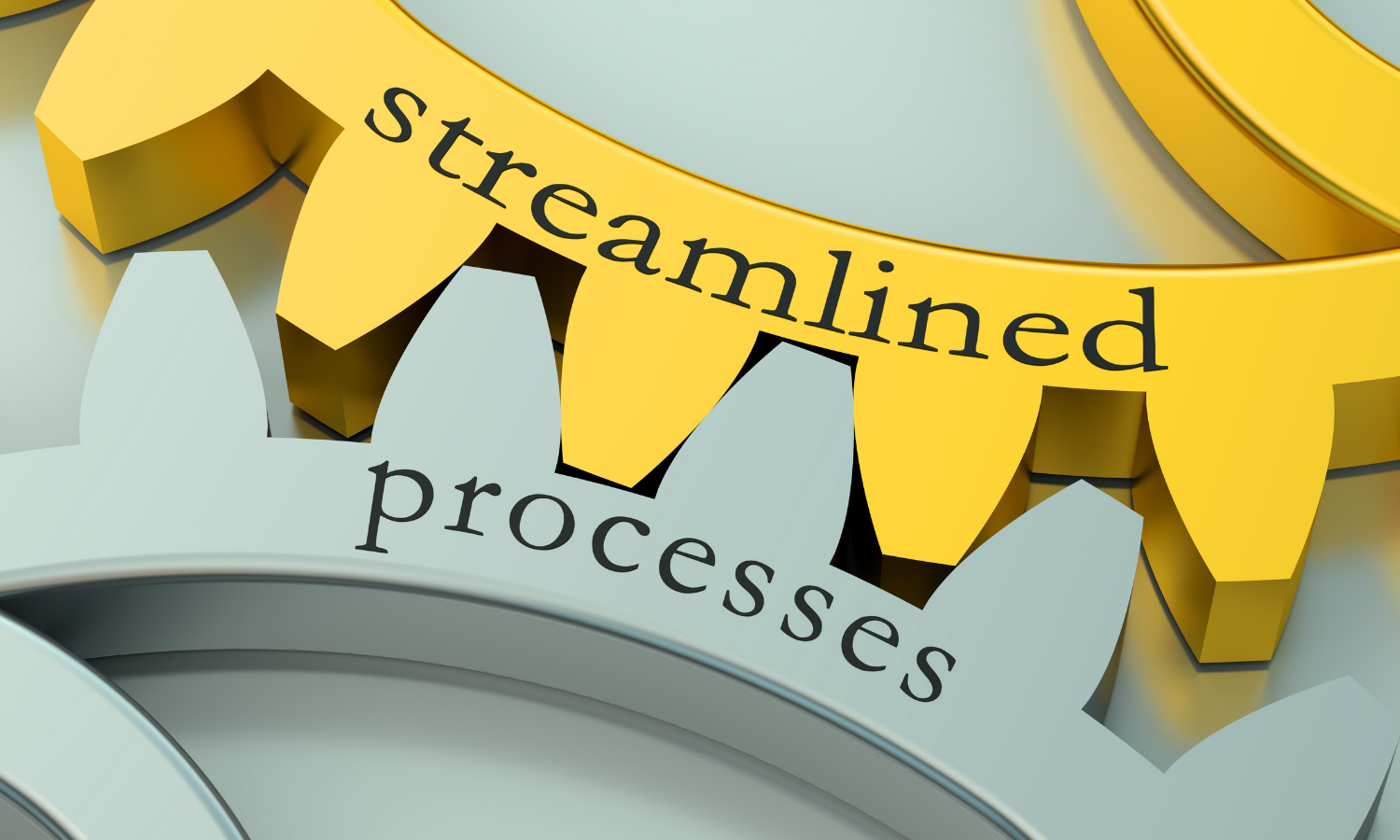 """2 gears interlocked, 1 is gold and labeled """"streamlined"""" the other is silver and labeled """"processes"""""""